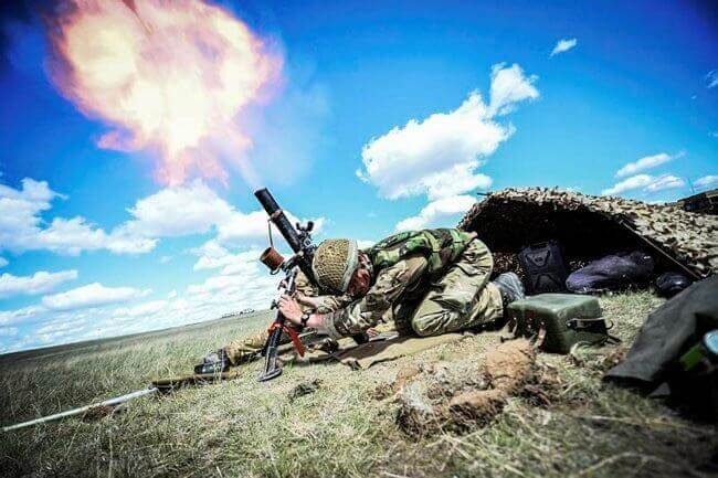 81mm-mortar firing